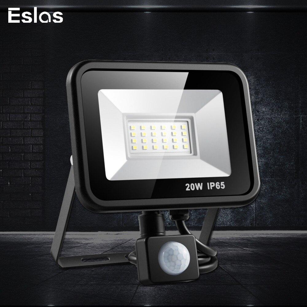Eslas CONDUZIU a luz de Inundação 220 V 10 W 20 W 30 W IP65 50 W Luz de Parede À Prova D' Água Com Movimento sensor de Holofotes para Garagem Armazém