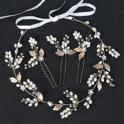 Metal Leaf Wedding Hair Accessories Hairbands Bride Headband Crown And Tiaras Girl Bridal Jewelry Ornaments