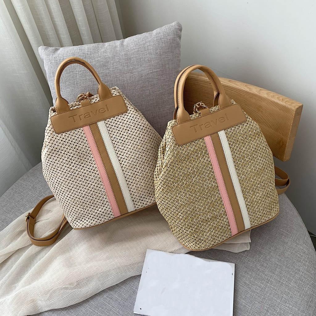 Female Rattan Bag Backpack Woman Handmade Woven Backpack Shoulder Bag Summer Leather Straw Mini Backpack Mochila Mochila Mimbre