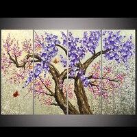 Художник поставка высокое качество розового и фиолетового цветов цветок Ножи картина маслом на холсте красивый цветок 4 panles/комплект Карти