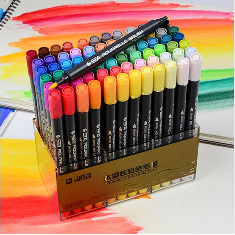 12/24/36/48/80 colors art marker pens Brush paint Pen Drawing Manga Water Based Pigment Ink Dual Headed Artist Sketch 04302 promotion touchfive 80 color art marker set fatty alcoholic dual headed artist sketch markers pen student standard