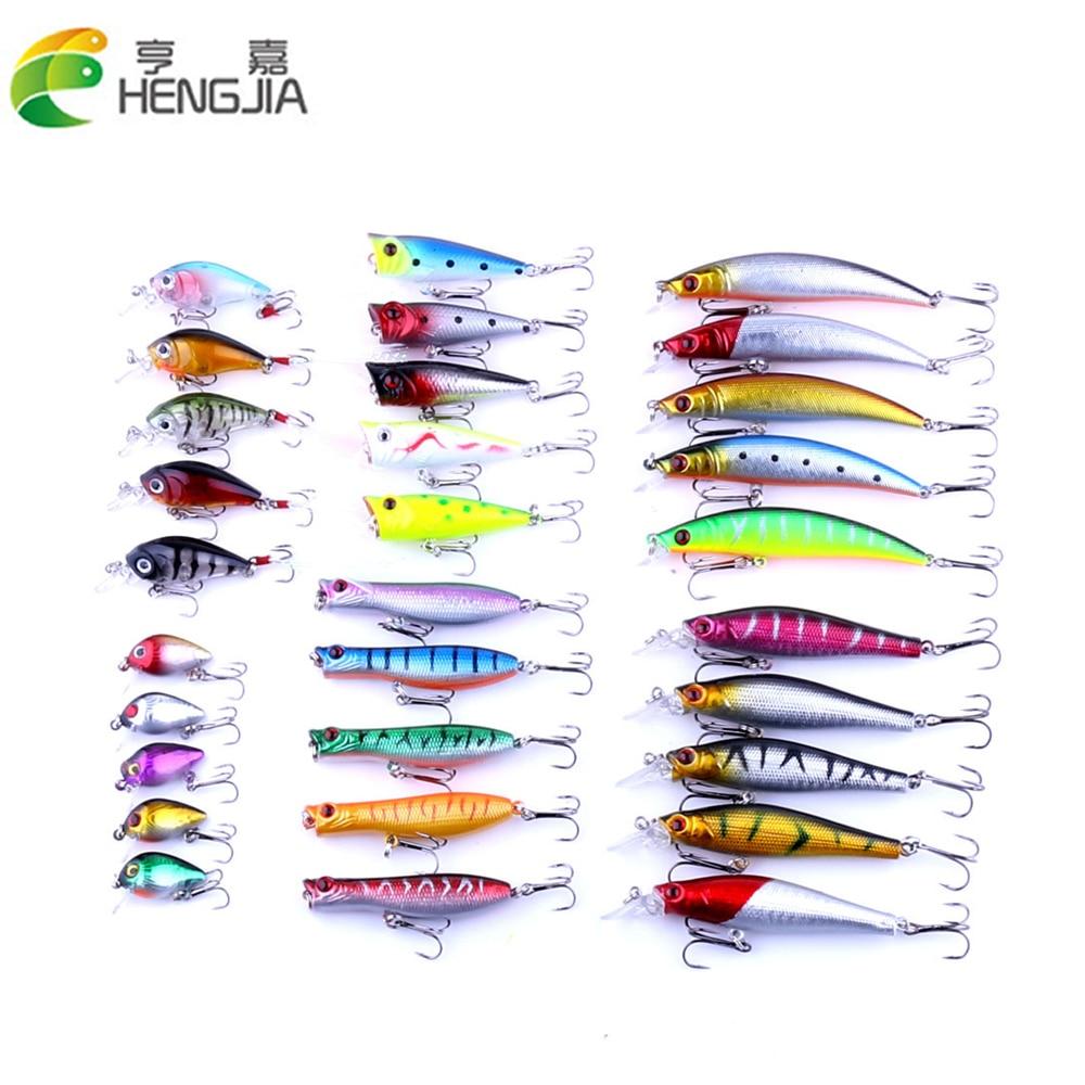 30 unids / pack señuelos de pesca conjunto mixto 6 modelos 30 - Pescando