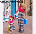 2016 Autumn spring matching mother daughter dresses stripe mother daughter clothes long sleeve maxi family look matching clothes