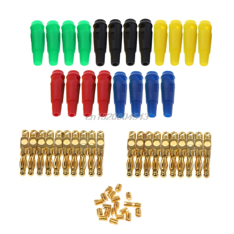 20Pcs/set Gold Plated 4mm Banana Plug Screw For Speaker Amplifier Binding Post R02 Drop ship uxcell 10pcs 5mmx10mm nickel plated binding chicago screw post for album scrapbook