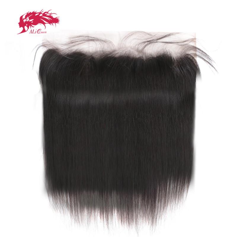 Ali Queen Hair Bleached Knot Virgin Hair Swiss Lace Frontal Natural Color 12 to 18 100