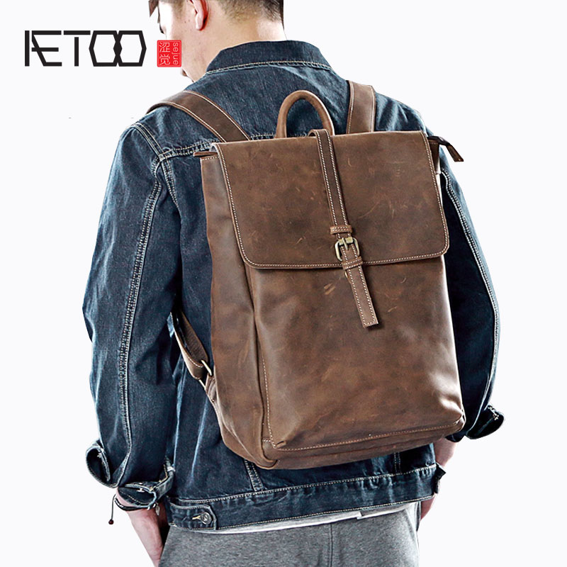AETOO Crazy horse leather leather shoulder bag men trend youth retro backpack cowhide shoulder bag male Korean version of the Br qiaobao 2018 new korean version of the first layer of women s leather packet messenger bag female shoulder diagonal cross bag