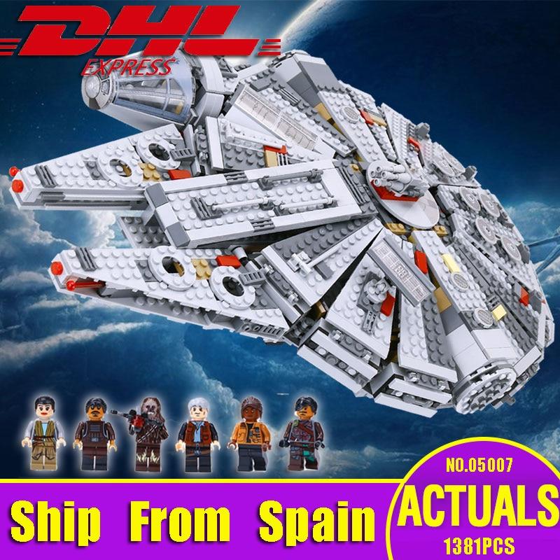 Spain Russian Warehouse DHL 05007 Star Toys Wars Force Awakens The 75105 Millennium Building Falcon Blocks