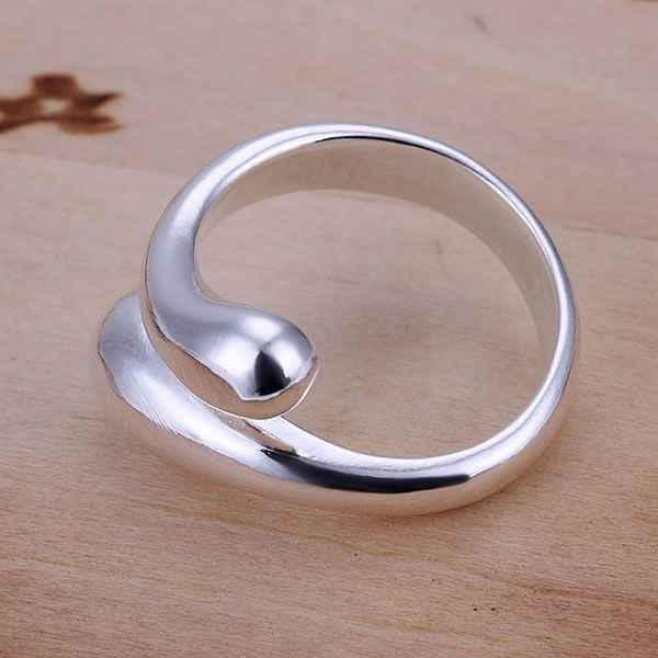 Stracić pieniądze promocja Resizable pierścionki dla kobiet biżuteria srebrna modna biżuteria podwójne okrągłe głowy kształt kropli wody Ring-Opend