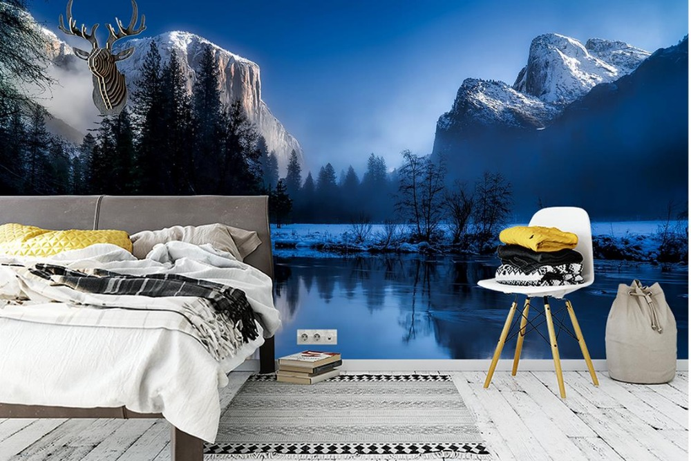 Custom 3d Mural Wallpapers Hd Landscape Mountains Lake: Custom 3d Mural Wall Scenery Wallpaper For Living Room