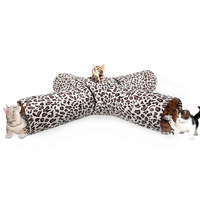 Cat Tunnel Leopard Print Crinkly 4 Ways Pet Tunnel Kitten Play Toy Collapsible Rabbit Toys Puppy