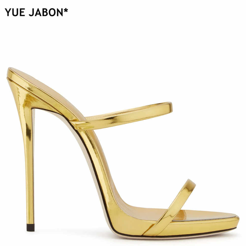 843d3d0e3455 ... 2018 Women Two Straps High Heels Rose Gold Patent Leather Strappy  Sandals Ladies Cute Slippers Sexy ...