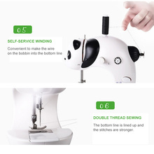 portable multifunction desktop mini electric sewing machine with light cutter small household appliances eat thick needle feed Household Mini Sewing Machine Small Automatic Multi-function Eating Thick Mini Desktop Electric Sewing Machine Handmade Products