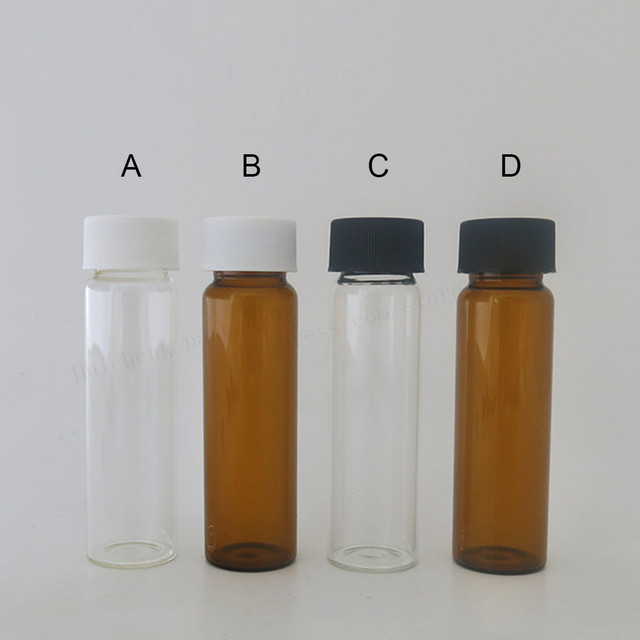 a74a934c6f2f US $23.94 10% OFF 24 X 40ML Amber Clear Empty Glass Bottles with White  Black Lids for Essential Oil Use 40cc Cosmetic Containers Vials-in  Refillable ...