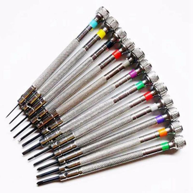 0 6Mm 2 0Mm 13Pcs New Watchmakers Screwdrivers Set Watch Glasses Flat Blade Assort Slotted Flat Screwdrivers Set Jewellers Wa in Repair Tools Kits from Watches