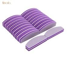 50pcs Nail Art Polishing Files 100/180 Purple Sanding Buffer Blocks For Manicure Salon Tools Mini Sponge Nail File цены