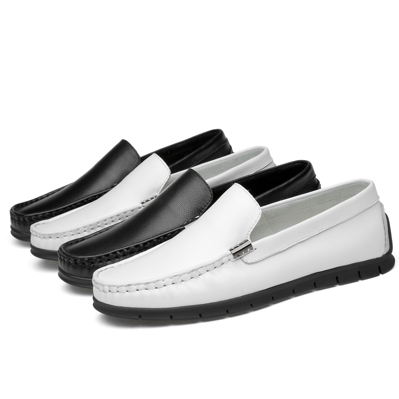 Fashion men 39 s shoes genuine leather casual breathable platform loafers man shoe white amp black driving shoes for men big size 12 in Men 39 s Casual Shoes from Shoes