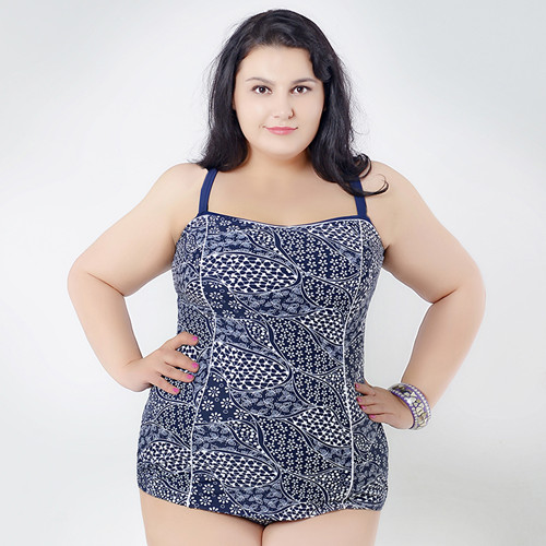YOUDIAN Europe and The United States Sexy Plus Size Swimsuit Female Big Code Printed Bikini Swimwear One-piece Fat Girl Swimsuit the one plus one
