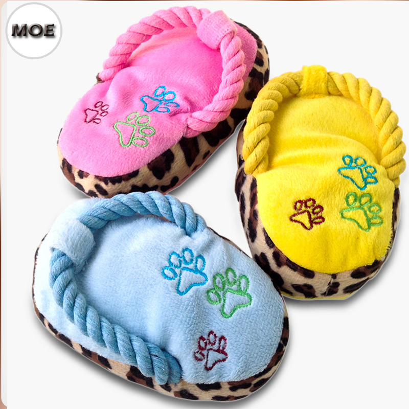 Toys For Biting : Super cute slippers design ropes for biting squeak