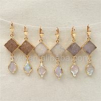 WT E299 Hot Sale Druzy Pearl Earrings For Women Jewelry Natural Druzy In 24k Real Gold