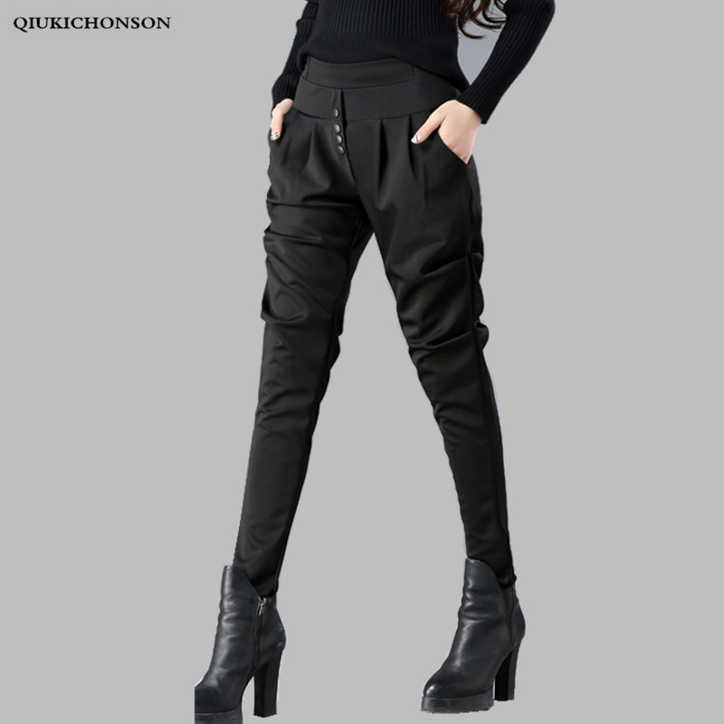 Trousers Ladies Pantalones Harem-Pants Spring Autumn Elegant High-Waisted Plus-Size Women