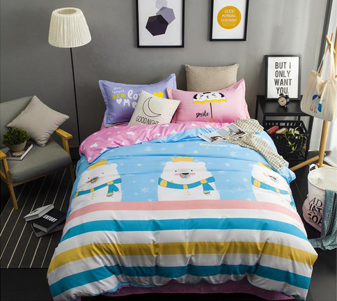 Big white bears lovely style comfortable bedding set Super King /King / Queen / Full/ Twin size bedding set 3Pcs/4Pcs bedclothes