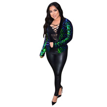 MUXU green sequin harajuku jaqueta feminina clothes casacas para mujer coat women campera jeans casaco