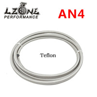 LZONE AN4 Double braided Stainless steel Teflon Racing Hose Fuel Oil Line AN4 ( ID: 6MM, OD: 11MM ) 5meter JR7511