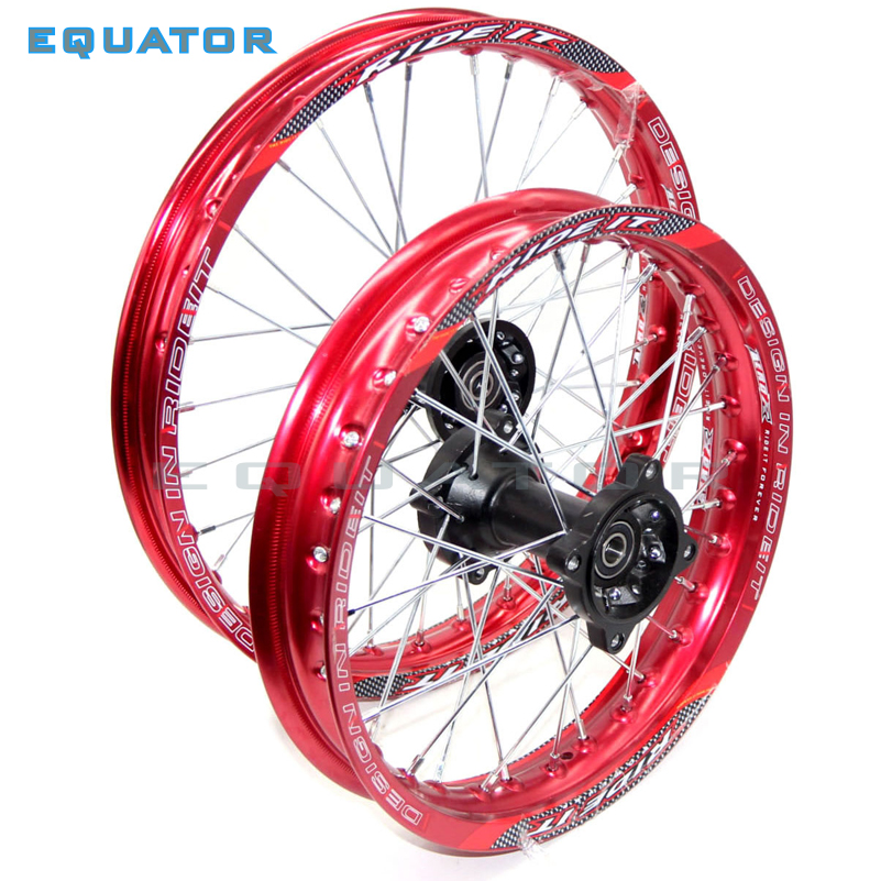 red 12mm or 15mm Front 1.85-14 inch Rear 1.60-17 inch aluminium Alloy Wheel Rim For 160cc 150CC Dirt Pit bike 14 17 inch wheel 14 inch front wheel rotating disc teeth open file 100mm axis length 140mm us tsui kole bike rim electric bike wheel bzo004