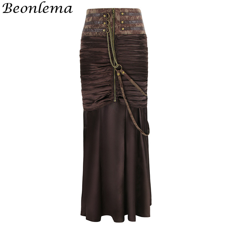Beonlema Long Vintage Women Skirt Sexy Maxi Steampunk Skirts Leather Gothic Pleated Skirts With Chain Vintage Corset Bottom