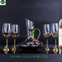 Wine Glass Set Exquisite Enamel goblet Glass Wineware Sober up Winehold Cup Cabinet Decoration With Gift Box 350ml