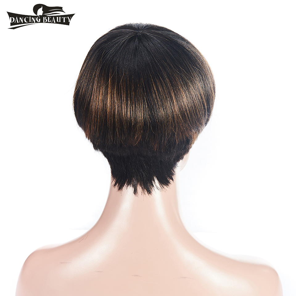 DANCING BEAUTY Pre-Colored Straight Hair Wigs Brazialian Short Front Human Hair Wigs Wit ...