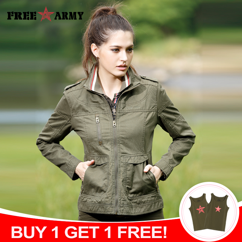 Outwear Jacket Kort Spring Jacket Kvinner Grønn Slim Fit Long Sleeve Military Female Jacket Høst Outdoors Coat Jacket Gs-823