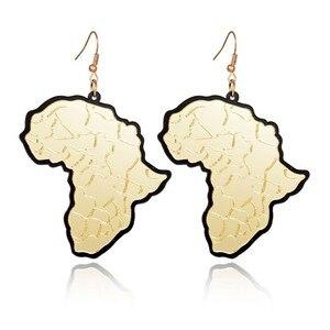 Женские акриловые серьги-капельки, модные креативные серьги золотого цвета с изображением карты Африки, аксессуары унисекс, 2019