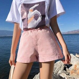 Image 5 - Streetwear letnie spodenki jeansowe damskie 2020 New Arrival wysokie spodenki z rozciągliwą talią, szeroka nogawka dżinsy czarny niebieski biały różowy krótki Femme