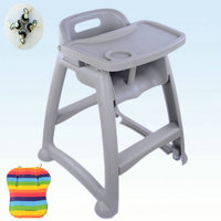 PP Plastic Kids Dining Highchair, 4 wheels baby chair, baby feed chair with adjust tray, can be baby Booster Seat with free gift