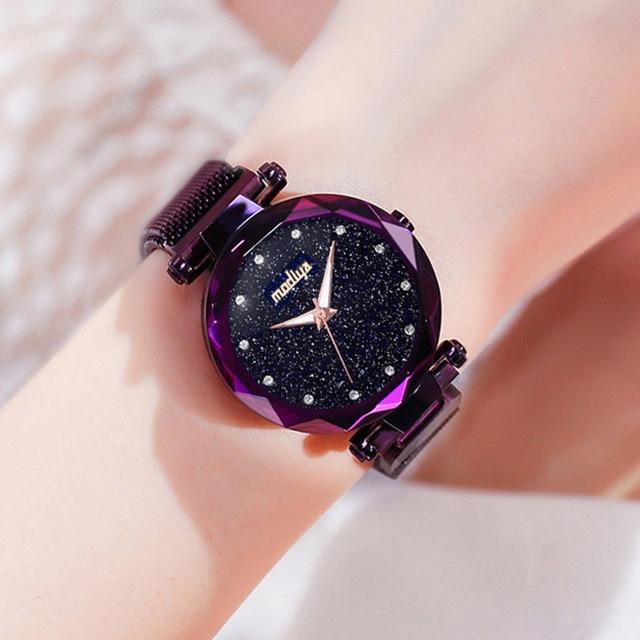 Luxury Diamond Rose Gold Women Watches Fashion Ladies Starry Sky Magnetic Watch Casual Mesh Steel Rhinestone Female Wristwatch