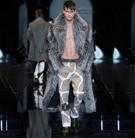 Silver Winter Thicken Warm Faux Fox Fur Coats Mens Leather Mink Overcoat Men Long Design Trench