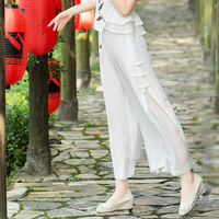 Women Chiffon Wide Leg Pants Thin Loose Pleated Full Length Trousers Solid Color Black White Blue