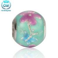 Srebrny 925 emalia lotosu charms fit europejskie marki bransoletki i bransoletki gw biżuterii marki amld026