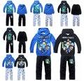 2015 meninos primavera de material conjunto de varejo de vestuário com capuz 2 pcs manga 4-14 year ( 8 cores )