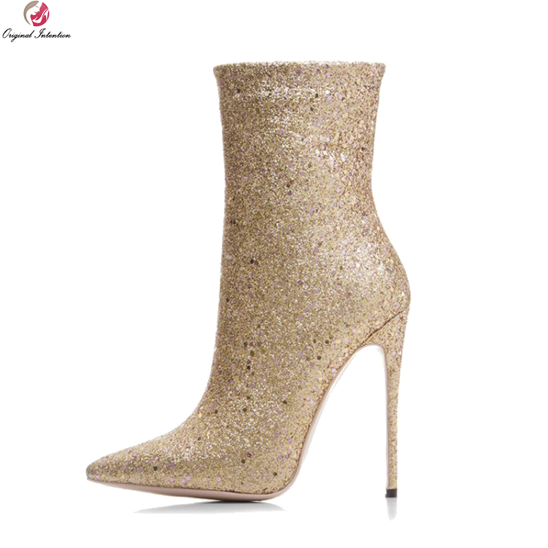 Original Intention Sexy Women Boots Glitter Pointed Toe Thin High Heels Boots Black Gold Silver Shoes Woman Plus US Size 3-10.5 gold sliver shoes woman for 2016 new spring glitter bling pointed toe flats women shoes for summer size plus 35 40 xwd1841