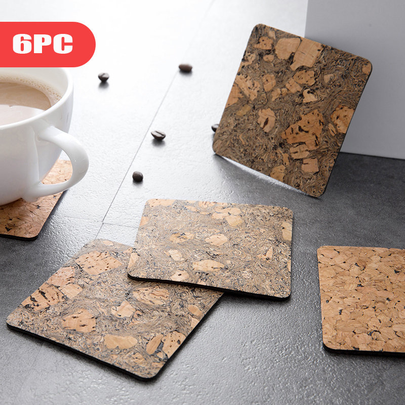 2018 New Cork Placemats Anti-slip Table Bowls Pad 6pc Creative Household Anti-hot Pot Pads Insulated Tea Cup Mat