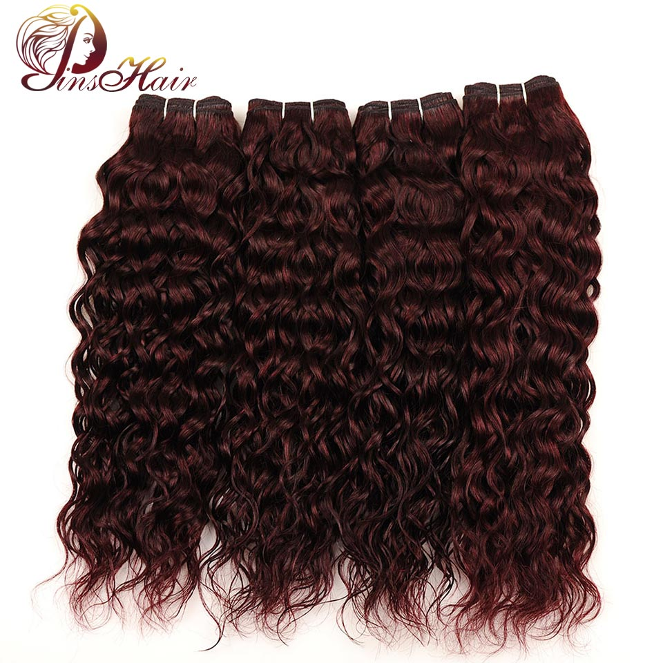 Pinshair 99J Red Water Wave Malaysian Hair 4 Bundles Burgundy Non Remy Human Hair Extensions Malaysian Hair Bundles Pre-Colored