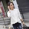 2016 Hot Nova Primavera Mulheres Camisas Blusas Blusas Plus Size Senhoras elegantes OL Camisa Branca de Manga Longa para a senhora Da Moda D615