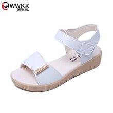 WWKK Woman Sandal Summer PU Wearproof shoes New Fashion Plat