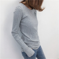 Basic Cotton Ribbed Tops Tees With Thumb Hole Women Long Sleeve Tee Shirts Essential Layering T