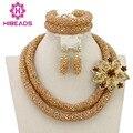 2016 Hecho A Mano de la Boda Nigeriano Beads Africanos Joyería Conjunto Chapado En Oro Perlas de Cristal Collar de La Joyería Set Envío Libre AEJ673