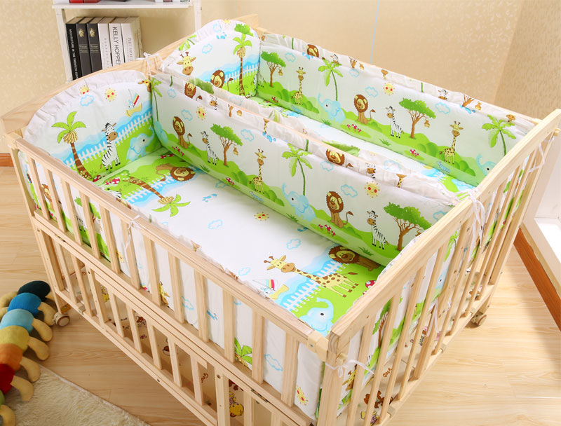Multifunctional Solid Wood Twin Baby Crib Newborn Infant Baby Bed Environmental Cribs for Twins Babies Cradle with Wheels C01