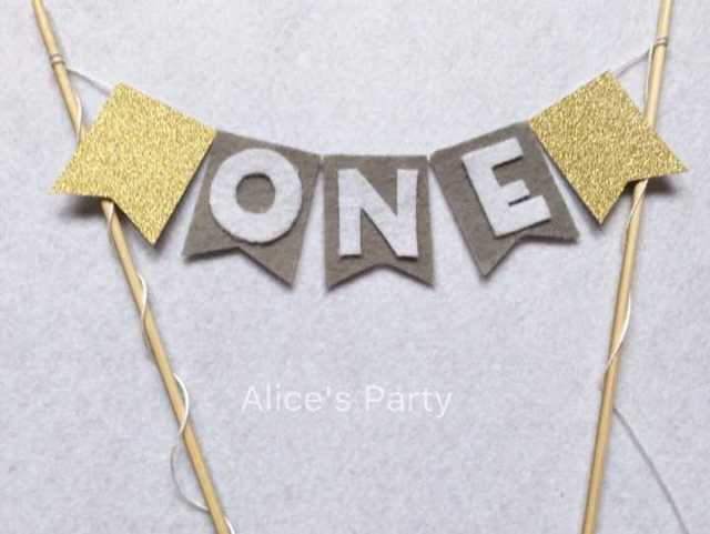New Grey Color With White ONE Bunting Boy 1st Birthday Cake Gold Baby Shower Banner Smash Flag Photoprops