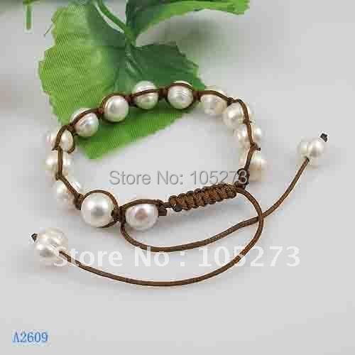 Жемчужный браслет ручной работы белого цвета натуральная пресноводной жемчужиной Размер: 8-9 мм Длина: 7.5-9''inchs Браслет